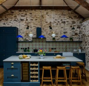 country kitchen with blue paint